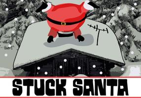 Cute lindo Stuck Santa Vector de fondo