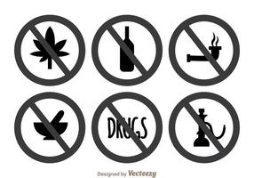 No Drugs Gray Icons vector