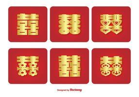 Ensemble d'icônes de symbole du bonheur double chinois