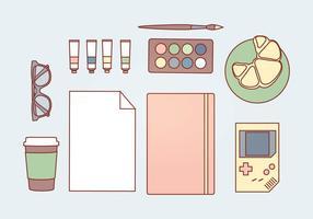 Accessoires en pastel vectoriel