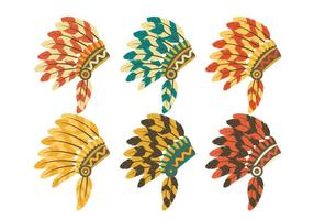 Indian Headdress Set Vector