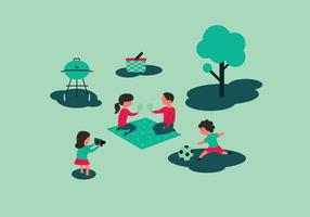 Familie Picnic Illustraties