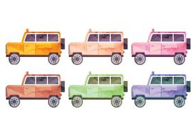 Set of Vector Watercolor Cars