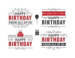 Conjunto de etiquetas de cumpleaños tipográficas