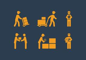 Vector Delivery Man Icon Set