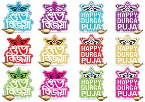 Happy Durga Puja Titles vector