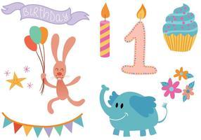 Freie erste Geburtstags-Vektoren