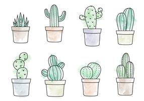 Vecteur de cactus d'aquarelle gratuit