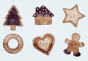 Cookies de Natal de vetor de aquarela