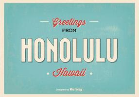 Retro Style Honolulu Greeting Illustration