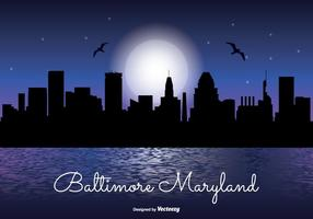 Baltimore Maryland Night Skyline