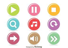 Colorful Music Player Circle Button