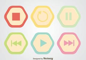 Round Hexagon Media Player Button