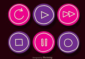 Media Player Pink And Purple Button