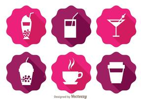 Drinks Long Shadow Icons  vector