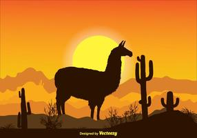 Landscape Alpaca Scene Illustration