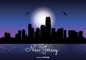New Jersey Night Skyline Illustration