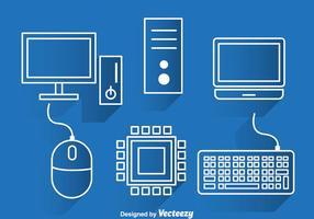 Ícones do contorno branco do computador
