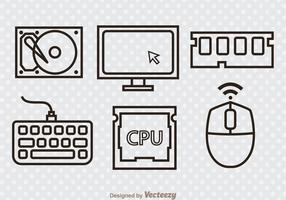 Computer-Hardware-Outline-Icons vektor