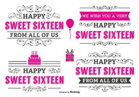 Typographic Sweet 16 Label Set