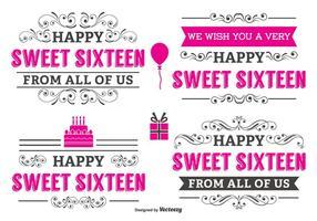 Typographic Sweet 16 Label Set