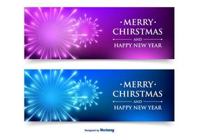 beautiful christmas new year banner set
