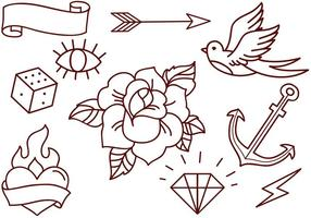 Vecteurs gratuits de tatouage de l'ancienne école