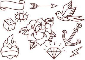 Vectores de la vieja escuela tatuajes gratis