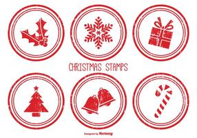 Distressed Christmas Stamps vector