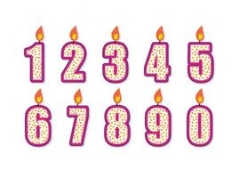 Cute Birthday Number Candle Set vector