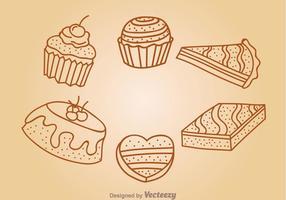 Ícones de esboço de bolos de chocolate