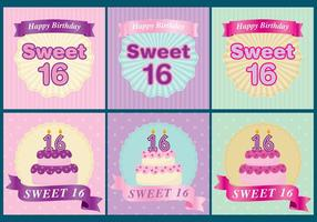 Sweet 16 Tarjetas vector