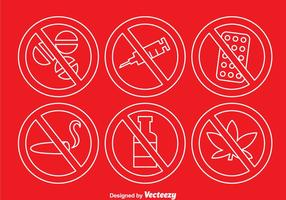 No drugs Outline Icons vector