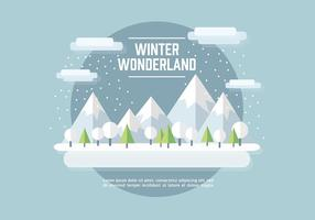 Flat Winter Landscape Vector Background