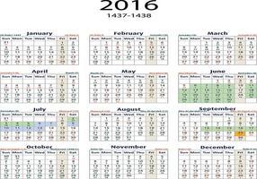 2016 Kalender engelska / arabiska