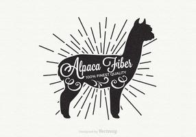 Gratis Alpaca Retro Vector Label