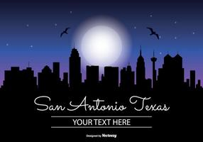 San Antonio Texas Night Skyline Illustratie