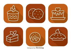Cake Long Shadow Icons vector