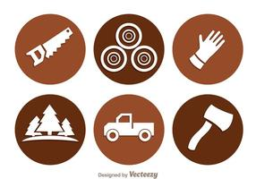 Lumberjack Circle Icons vector