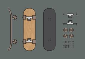 Vektor Skateboard Illuustration Set