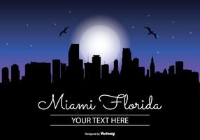 Miami Nacht Skyline Illustration