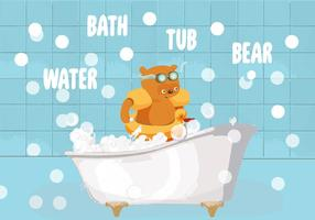 Bath Tub Bear Vector Illustration