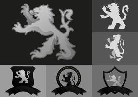 Lion Rampant Icons vector
