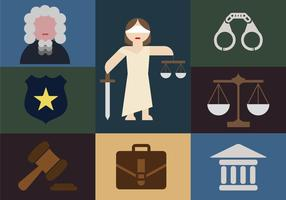 Justice Elements Minimalist Illustration Flat Icons vector