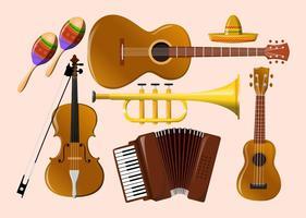 Mariachi vectores de instrumentos de música