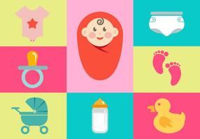 Baby Illustrations Icon Elements Vector