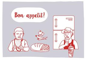 Free Bon Appetit Vector Illustration with Characters