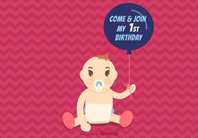 Gratis första födelsedagsvektorinbjudan