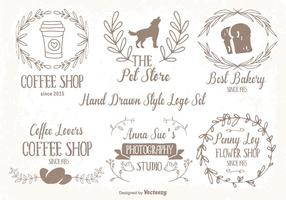 Cute Hand Drawn Style Logo Set