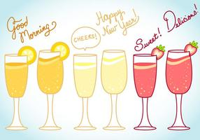 Mimosa and Celebration Vector and Text Art